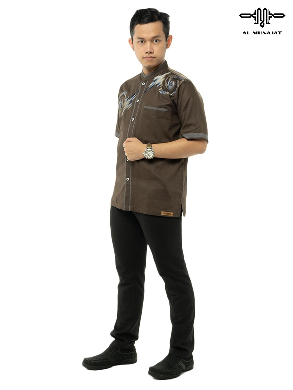 Yuzer Lengan Pendek Warna Milo / Coklat Gelap 2109